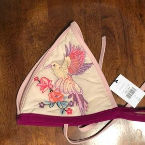 •Topshop• Size 10 embroidered birds bikini top